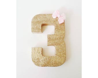 Gold Glitter Numbers, Number 3, Pink and Gold, Gold Birthday