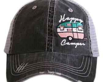 Happy camper trucker hats