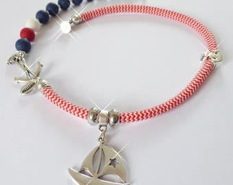 necklace made of polaris-pearls, sail rope and maritime metal elements