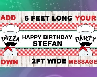 Pizza Birthday Banner, Pizza Bunting, Pizza Banner, Pennant, Birthday Bunting, Pizza Party, Pizza, Party Decoration