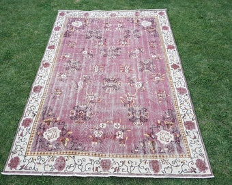 FREE SHIPPING!! 7' x 9'9'' Vintage Oushak Rug, Large Oushak, Low Pile Oushak, Turkish Old Rug