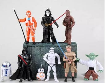 Star Wars action figures The Force Awakens 9pc Star Wars Cake topper Star wars birthday party favors gifts Star Wars cake toppers Fast Ship