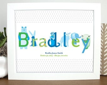 Personalized Baby Gift, Baby Wall Art, Nursery Print, Kids Art, Baby Gift, Blue and Green Baby Art, Baby Shower Gift, Baby Welcome Gift,