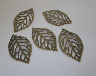 10 charms leaves bronze 24 x 14 mm