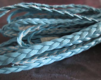 faux light blue flat braided 5 mm leather cord