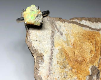 Rough raw Ethiopian welo opal on  sterling silver ring size 8.5