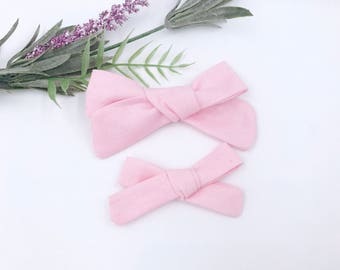 Baby Girl hand tied Bow - Nylon Headbands - Hair clip - Infant / Toddler /  Fabric Hair Bows / Clips - baby pink - light pink