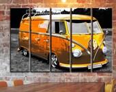 Volkswagen VW Wall Art Bus Camper Van Wall Canvas Art Vintage Rusty Car Wall Art Retro Car Canvas Art Frame Panels Canvas Wall Print Poster