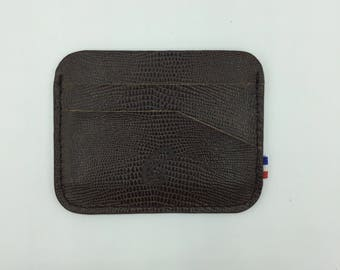 The round Brown lizard leather card