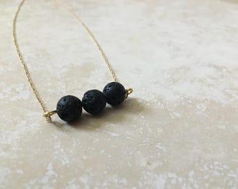 Three Stone Gold Bar Lava Diffuser Necklace