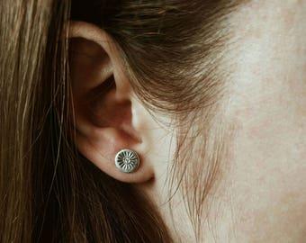 2 Sun stud earrings silver earrings silver sun stud earrings