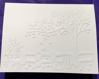 Fall embossed on DIY blank note card, white, 5 cards and envelopes