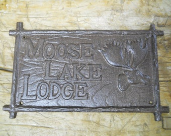 Cast Iron MOOSE LAKE LODGE Plaque Sign Rustic Ranch Wall Decor Cabin Deer Hunting Hunter