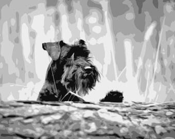 Miniature Schnauzer, Layered Papercut Template, Dog Papercutting Portrait, Pet Portrait, Commercial Use, Personal Use