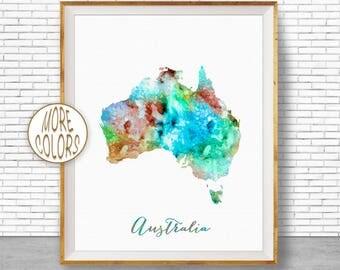 Australia Map Art Australia Print Australia Art Print Home Decor Wall Prints Wall Art Home Wall Decor Watercolor Painting ArtPrintZone