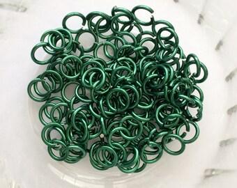 "18g 3/16 ""chainmaille saw cut jump rings, green jump rings, DIY chainmaille, chainmaille supplies, green rings, Tessa's chainmail"