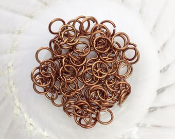 "18g 1/4 ""chainmaille saw cut jump rings, brown jump rings, aluminum rings, DIY, chainmaille supplies, jumprings, bronze, Tessa's chainmail"