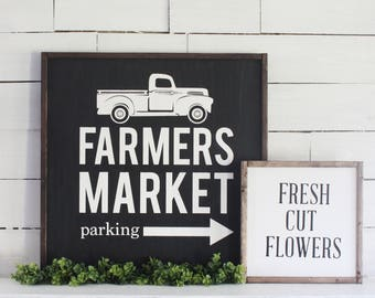 Farmers Market Sign, Wood Sign, Rustic Sign, Farmhouse Decor, Fixer Upper, Square Sign, vintage truck, Timber Farms Co, Wood Frame