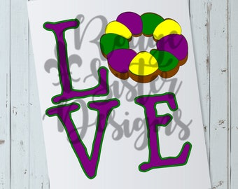 LOVE King Cake Mardi Gras SVG File