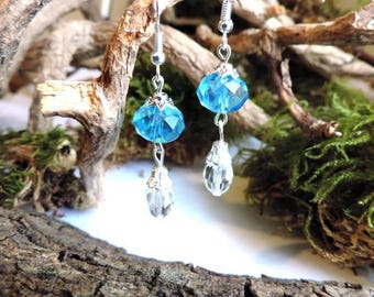 Silver Earrings: Blue Crystal beads faceted bead accented Teardrop faceted glass with a CAP