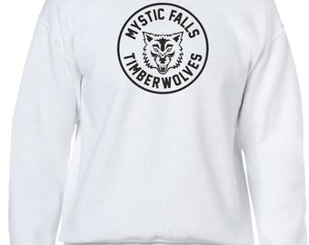 The Vampire Diaries inspired White Crewneck Sweatshirt - Jumper - Pullover - Mystic Falls Timberwolves