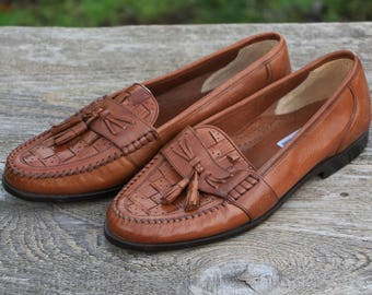 Shoes vintage Brazil shoes with tassel size 42 loafers men size 9 shoes Brown Leather shoes Smooth leather Slip on Authentic shoes Fabbri