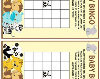 BABY SHOWER GAME Pack Instant Download /Baby  jungle animals /printable's 4 games girls or boys