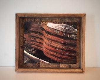 Photograph On Metal - Vintage Barn Wood Frame - Chevrolet - Shadow Box Art - Fine Art