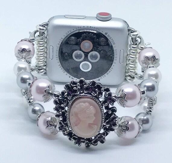 Apple Watch Band, Women Bead Bracelet Watch Band, iWatch Strap, Apple Watch 38mm, 42mm, Victorian Pink White Silver, Swarovski Pearls Size 7