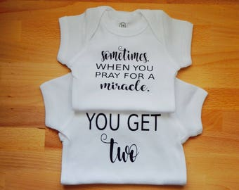Twins onesies | Miracle babies | For this child I prayed onesie