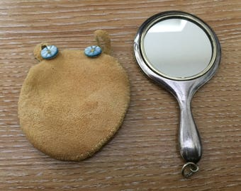 Miniature silver plated mirror in suede pouch