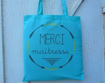 """""""thank you teacher"""" customizable totebag bag / tote bag personalized centerpiece"""