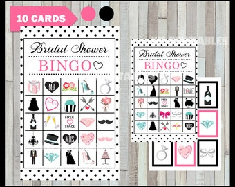 50 % off SALE Bridal Shower Bingo Game - Printable - 10 different Cards - Party Game Printable - Half Page Size - INSTANT DOWNLOAD