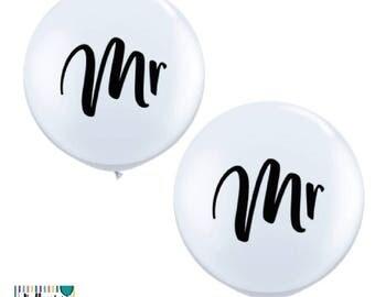White Jumbo Wedding balloons in Mr & Mr Jumbo 90cm 3ft Latex balloons