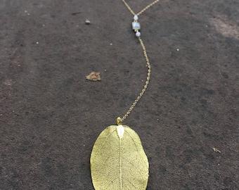 24k gold electeoplated leaf lariat necklace