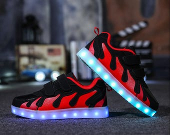 Fashion Children LED light up Shoes For Kids Sneakers USB Charging Luminous Lighted Boy Girl Sports Casual Enfant Shoes by DoraBoutique