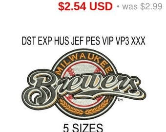 TODAY SALE 15% Milwaukee Brewers logo machine embroidery design / embroidery designs / INSTANT download machine embroidery pattern