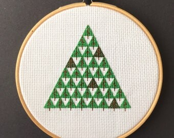 Hand Stitched Triangle of Green Trees // Embroidery Hoop Art // Wall Art // For Nature Lovers