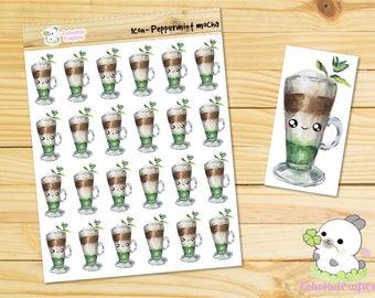 Peppermint Mocha/Coffee Water Color Kawaii Icon Planner Sticker