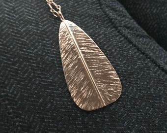 Holiday Collection: Rose Gold Large Feather Necklace