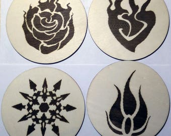 Laser Engraved Wooden RWBY Coasters