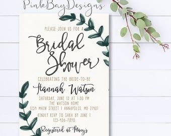 Watercolor Leaf Bridal Shower Invitation, Watercolor Leaves Invitation, Shower Invitation, Bridal Shower Invite, Wedding Shower Invitation