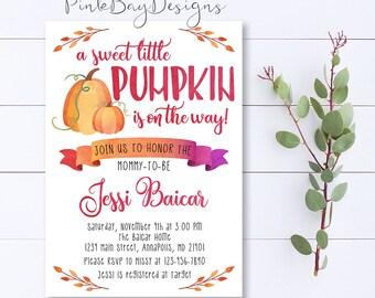 Pumpkin Baby Shower Invitation, Baby Shower Invitation, Little Pumpkin Invite, Watercolor Shower Invite, Pumpkin Baby Shower, Fall Shower