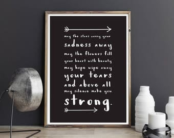 Strong, printable quote, wall art, digital prints, black and white, typography poster, wall décor
