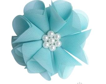 2 Aqua Chiffon Flower~Wedding~Flower~DIY Supplies~DIY Headband~Vintage Flower~Craft Supplies & Tools~Craft Supplies~Wedding Flower~Headband