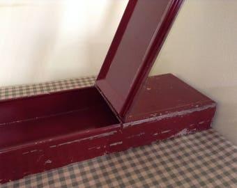 Vintage Metal Box, Old Safe Deposit Box, Red Bank Safety Deposit Box,  Storage