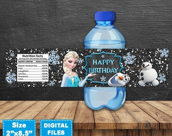 Frozen Water Bottle Labels, Frozen Bottle Wrap, Frozen Birthday Party, Frozen Printable, Frozen Party Supplies, Frozen Instant Download,Elsa