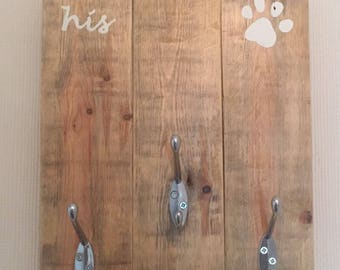His and hers and the dog key/coat rack - coat rack - key rack - reclaimed wood