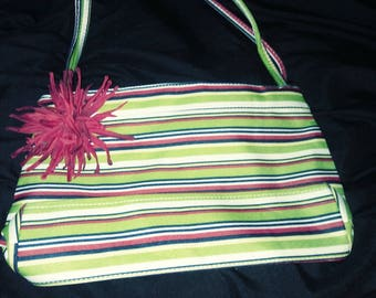water resistant striped shoulder bag