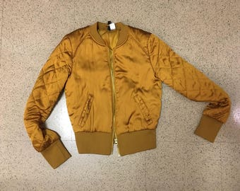 Mustard Yellow Gold Silky Bomber Jacket